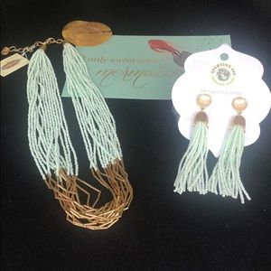 NWT Spartina 449 Sea Foam Necklace and Earrings